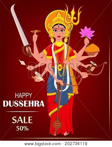 Happy Dussehra vector illustration for sale shopping. Maa Durga on dark red background for Hindu Festival.
