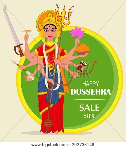 Happy Dussehra vector illustration for sale shopping. Maa Durga on abstract green background for Hindu Festival.