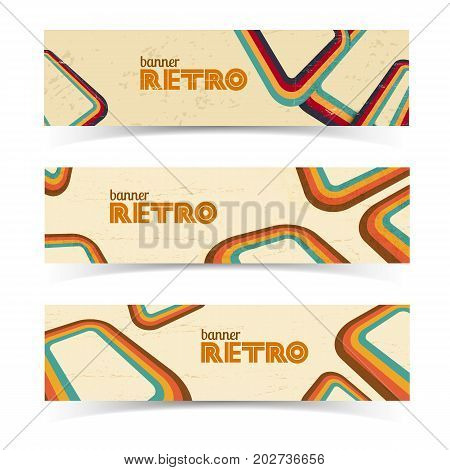 Vintage horizontal banners with curved twisted lines and place for your text isolated vector illustration