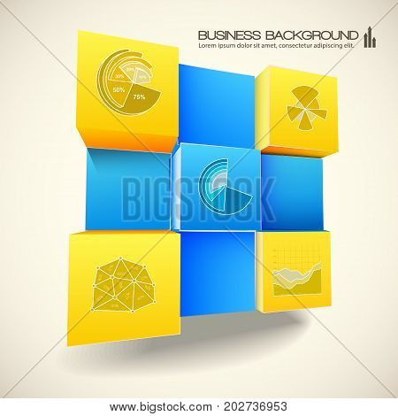 Abstract 3d background for web design with blue and yellow elements of infographics in cubes shape vector illustration