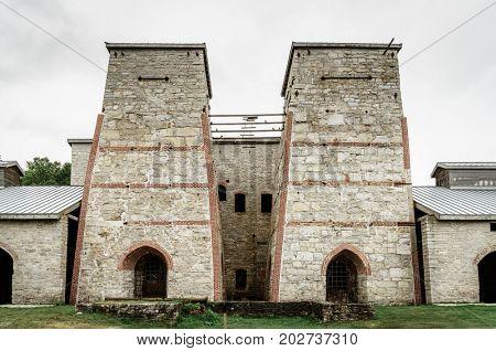 Blast furnace complex in Fayette Historic Townsite in Michigan