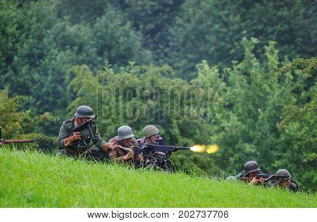 Heavy machine gun fire.The VIII International Festival of Military History and remake for the battle `1944` 6.08.2016 in Valga, Estonia