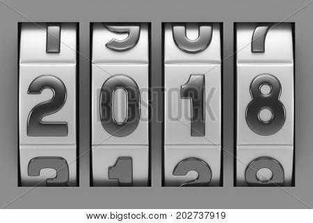 Coded lock. 2018 year. 3D illustration