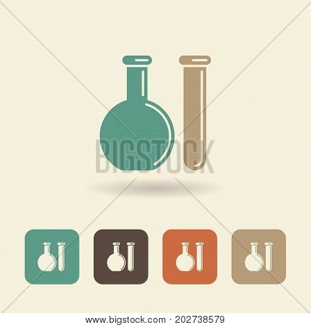 Chemical test tube logo. Experiment flask symbols for chemical medicine education and other branding