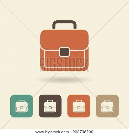 Vector simple flat logo Briefcase with shadow
