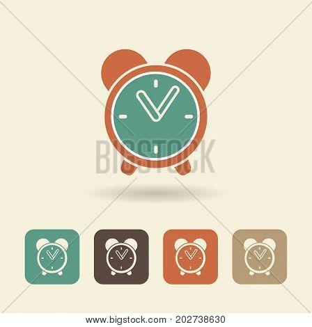 Simple vector icon of alarm clock. Flat logo