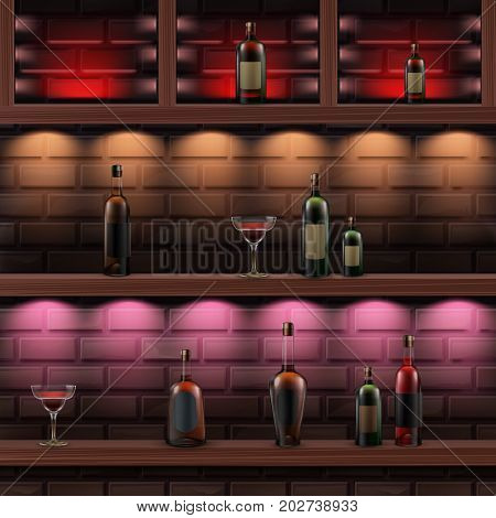 Vector brown wooden shelves with red, orange, pink backlights and glass bottles of alcohol isolated on dark brick wall