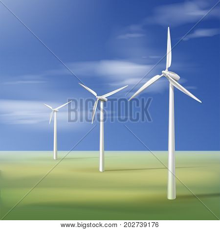 Vector illustration with wind turbines on the green grass over the blue cloudy sky