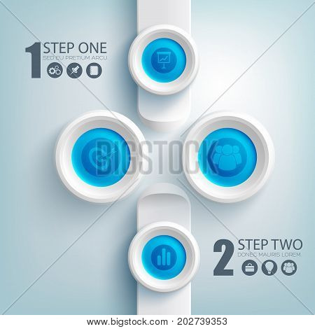 Web clean infographic template with business icons on blue round buttons and gray rectangles vector illustration