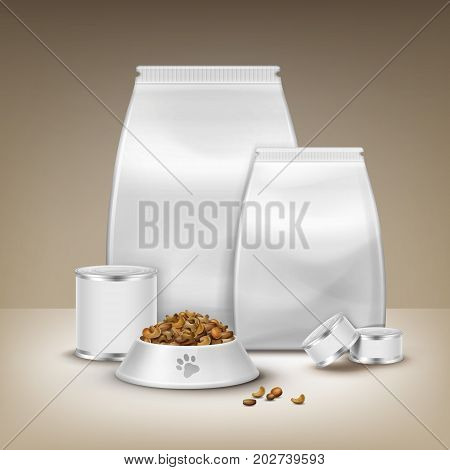 Vector blank packaging, canned goods and bowl with feed isolated on brown background