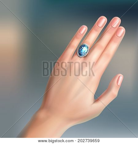 Vector human hand with silver brilliant ring on finger isolated on background
