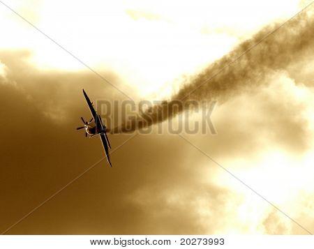 A plane making the smoke way