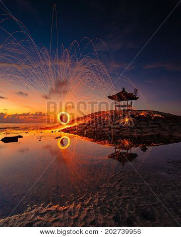 Play Firework in Beautifull Morning Sanur Bali