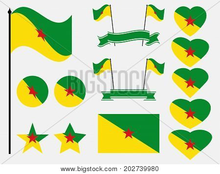 French Guiana Flag Set Symbols, Flag In Heart. Vector Illustration