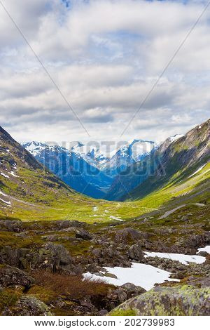 Mountains with blue sky in summer in Norway