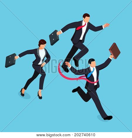 Running businessmen isolated on blue background. Isometric businessman is the winner of the competition. 3d businessman with a torn red ribbon on his chest. Vector illustration.