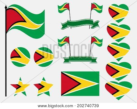 Guyana Flag Set Symbols, Flag In Heart. Vector Illustration