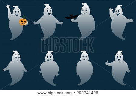 Funny ghosts. Set of cartoon ghosts with different poses and emotions. Happy Halloween. Vector.