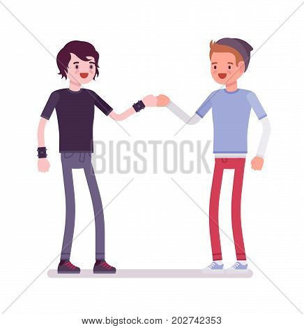 Young men fist bump. Friendly, healthy and safe environment, training and supervision. Youth community and volunteer team concept. Vector flat style cartoon illustration, isolated, white background