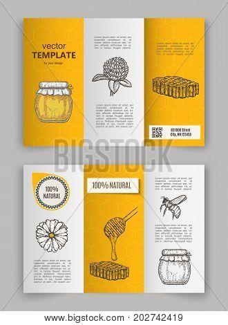 Hand drawn honey flayer templates. Vector illustration