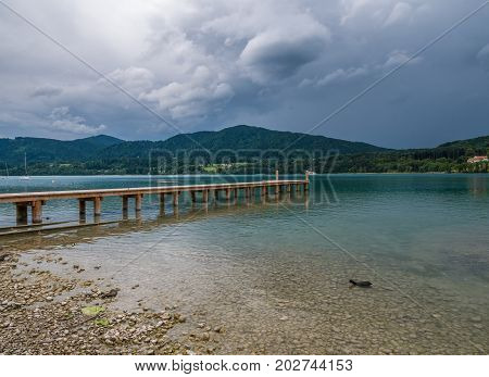 The Mountain Lake Tegernsee In Bavaria, Germany