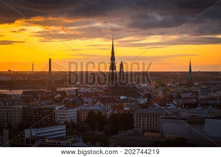 Landscape of the city from the top of the Latvian Academy of Sciences Riga Latvia