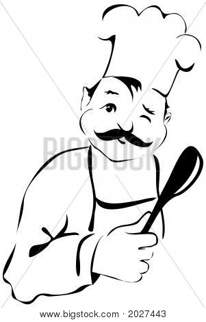 Funny Cook With Spoon Winking