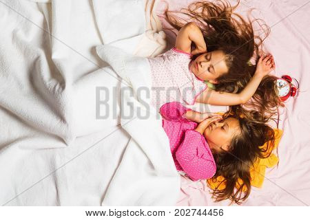 Childhood, Night And Happiness Concept. Children With Closed Eyes
