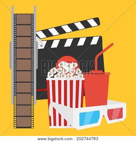 Production of film film popcorn cola 3d glasses. Flat design vector illustration vector.