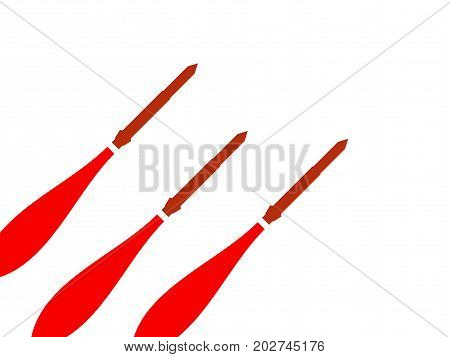 Launch Of A Nuclear Missile. Start A Ballistic Missile On A White Background. Vector Illustration