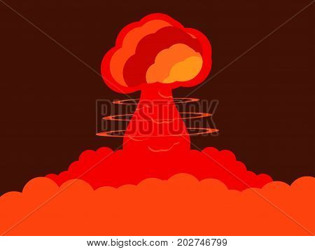 Nuclear explosion. Atomic bomb. Red color. Vector illustration