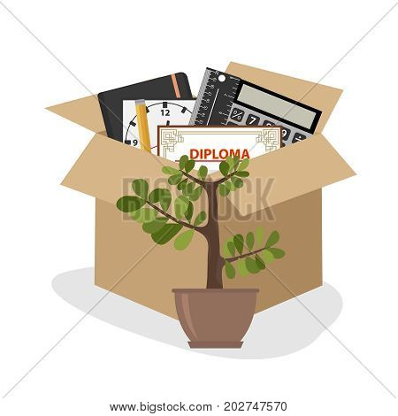 Businessman fired box with office things. Flat design vector illustration vector.