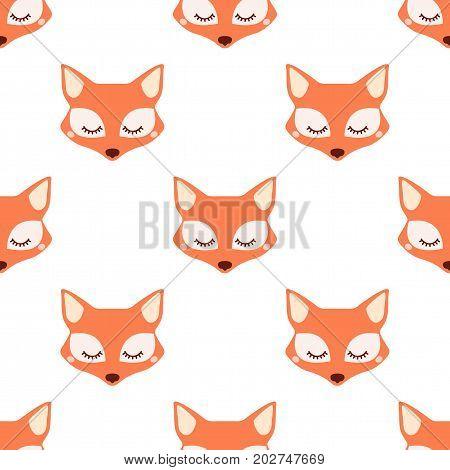Sleepy fox. Seamless vector pattern on white background