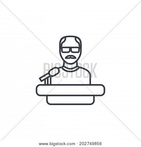 Presentation, education speaker, lecture, teacher thin line icon. Linear vector illustration. Pictogram isolated on white background