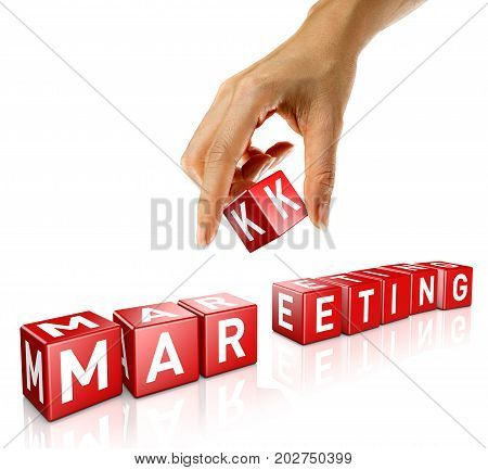 A woman's hand places a cube to form the word marketing. Isolated on a white background