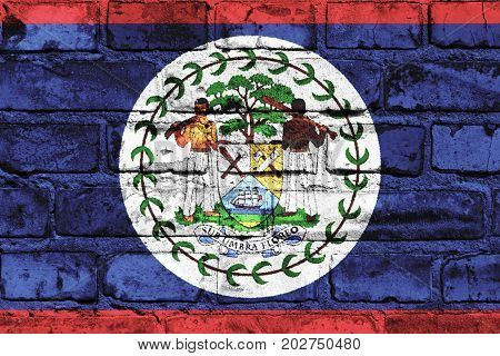 Belize flag painted on the brick wall