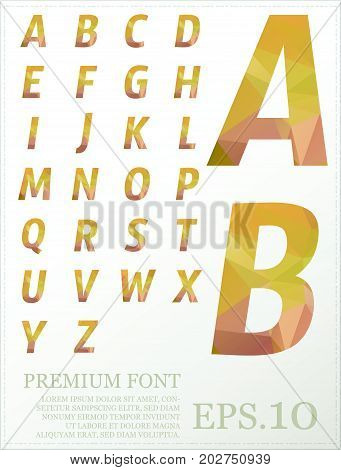 Dimension Colorful Alphabet Set Font Low Poly Artistic Color Font With Brush Texture