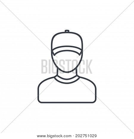 Delivery man in cap, courier thin line icon. Linear vector illustration. Pictogram isolated on white background