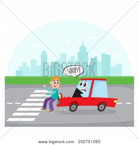 Road accident, car character with human face hits a pedestrian on city street, cartoon vector illustration. Cartoon car character with human face hits a pedestrian crossing city street