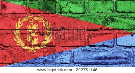 Eritrea flag painted on the brick wall