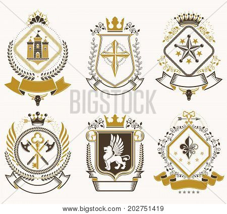 Set of old style heraldry vector emblems vintage illustrations decorated with monarch accessories towers pentagonal stars weapon and armory. Coat of Arms collection.