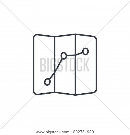 route, itinerary map thin line icon. Linear vector illustration. Pictogram isolated on white background