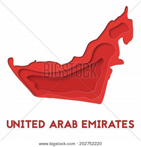 3d abstract paper cut illlustration of United Arab Emirates red map. Vector travel template in carving art style. Eps10.