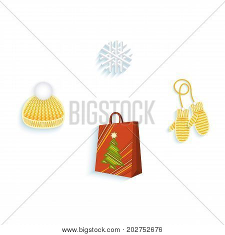vector flat knitted winter cap with pompon, mitten gloves snowflake, shopping paper bag set. Illustration on a white background. Winter sybols concept