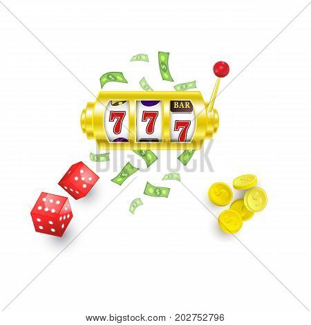 vector flat cartoon lucky triple seven Jackpot, golden slot mashine with dollar rain around, casino chips and dice cubes set. Isolated illustration on a white background. Sign of profit easy money