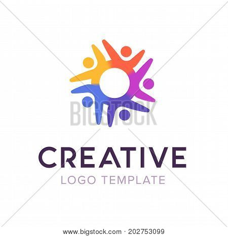 Creative community. People logo. Social logo vector template