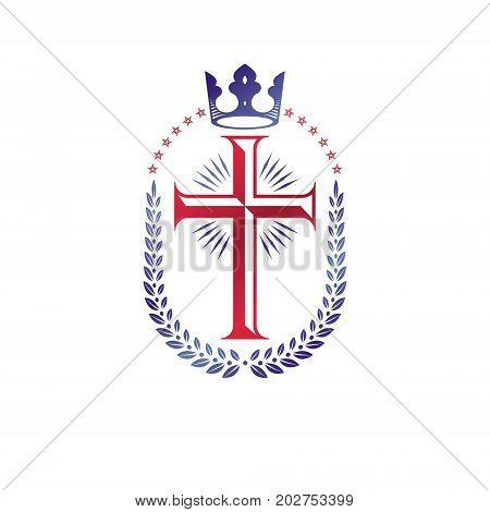 Christian Cross decorative emblem. Heraldic vector design element composed with laurel wreath and imperial crown. Retro style label heraldry logo religious vintage symbol.