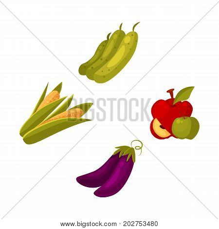 Set of cartoon farm products, fruit and vegetables - apple, zucchini, corn, eggplant, vector illustration isolated on white background. Cartoon style whole raw corn, eggplant, zucchini, apple