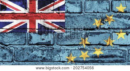 Tuvalu flag painted on the brick wall