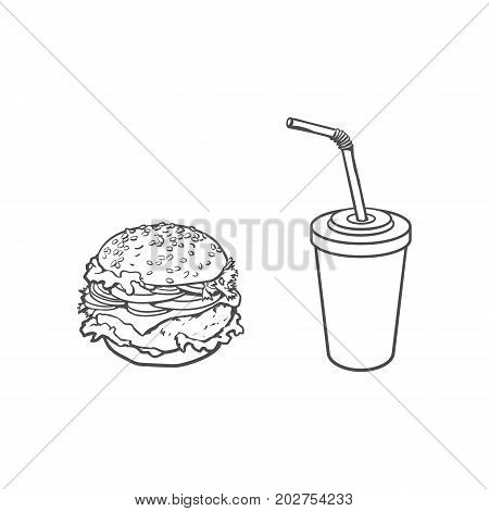 Vector burger, soft cold drink disposable cup with straw and lid. Sketch hand drawn isolated illustration on a white background. Tasty fresh fastfood chickenburger, cheesburger with vegetables.